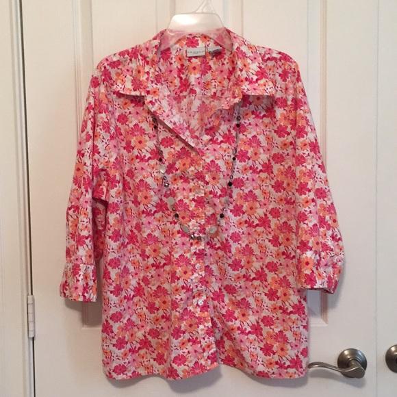 Kim Rogers Tops Final Price Pink Floral Shirt Poshmark
